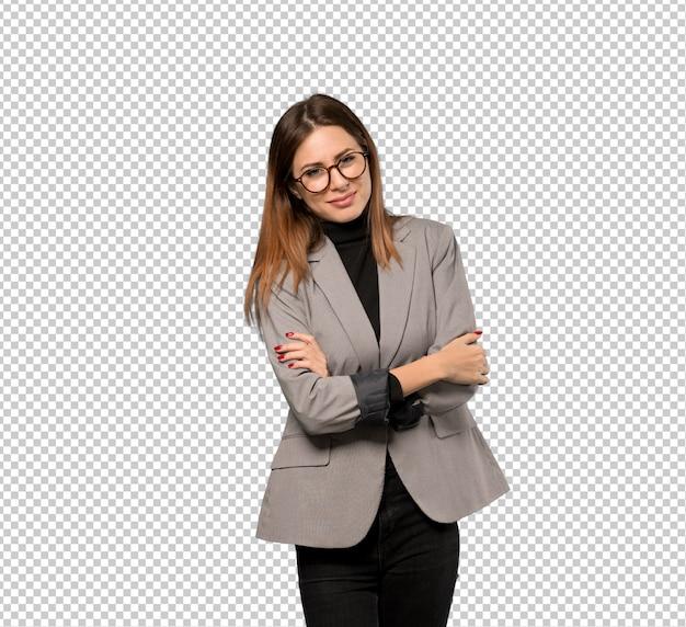 Mulher negócio, com, óculos, e, sorrindo