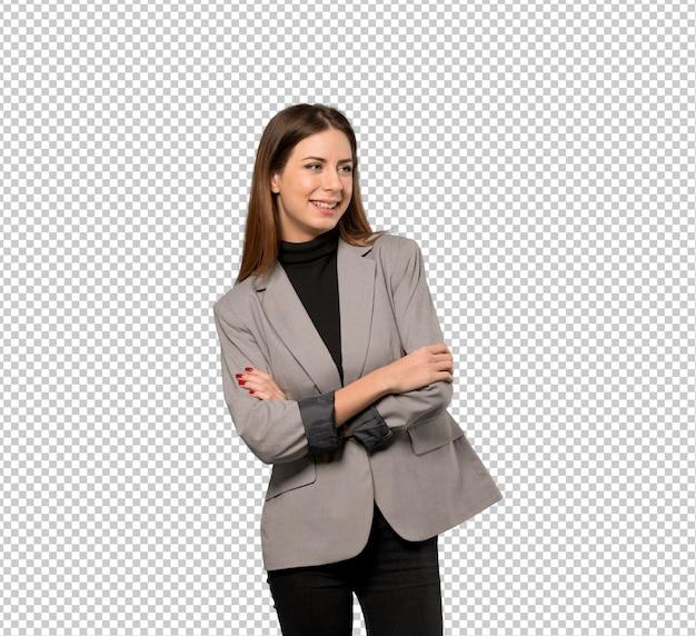 Mulher negócio feliz, e, sorrindo