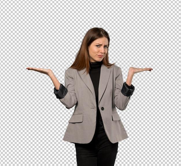 Mulher negócio, tendo, dúvidas, enquanto, levantando mãos