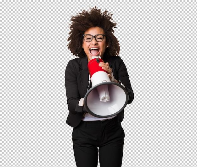 Mulher negra de negócios gritando no megafone