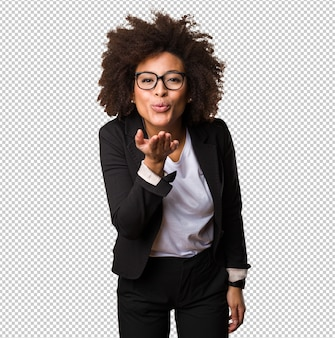 Mulher negra de negócios mandando beijos