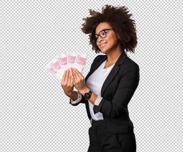 Mulher negra de negócios segurando contas