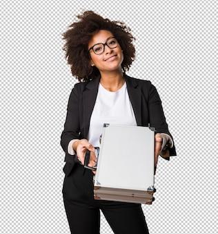 Mulher negra de negócios segurando uma mala