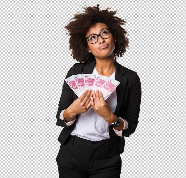 Mulher negra negócio, segurando, contas