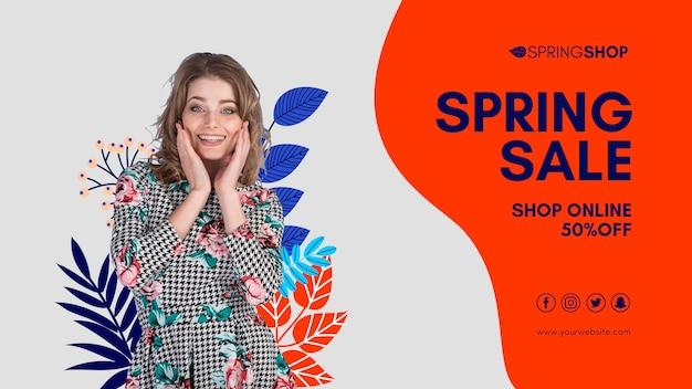 Mulher no banner de venda de primavera de vestido