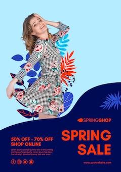 Mulher no folheto de venda de primavera de vestido