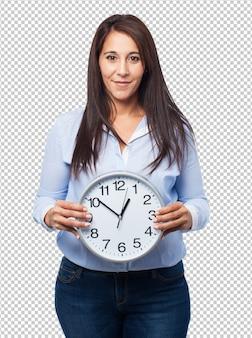 Mulher segura, relógio