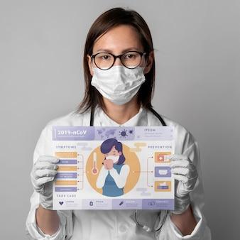 Mulher segurando modelo de cartaz de coronavírus