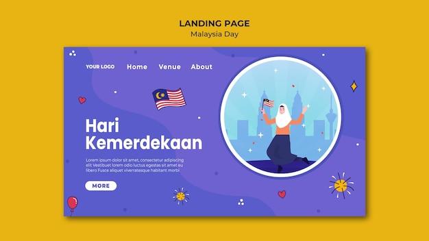Mulher segurando uma bandeira modelo de página de destino para o dia da malásia
