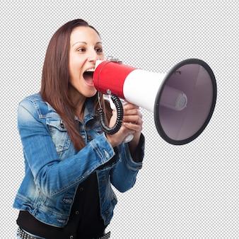 Mulher, shouting, com, um, megafone