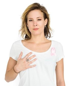 Mulher, sorrindo, felicidade, peito, câncer, consciência, retrato