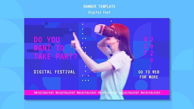 Mulher usando um modelo de banner de fone de ouvido de realidade virtual