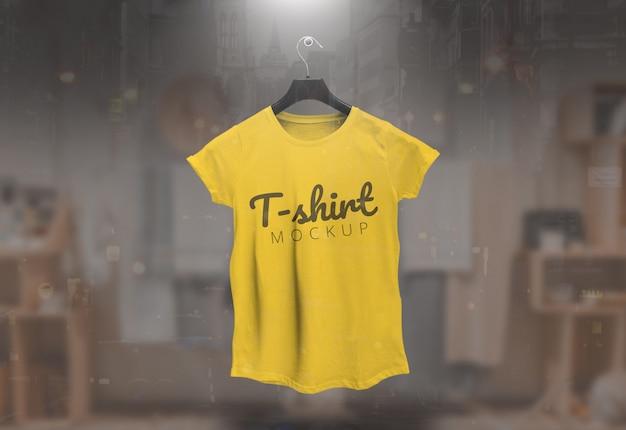 Mulheres camiseta maquete camiseta feminina amarelo maquete