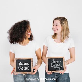 Mulheres, mostrando, ardósia, para, evento