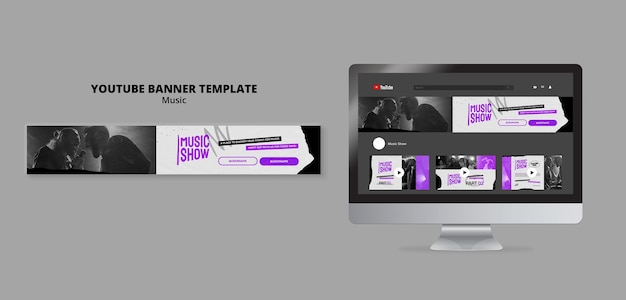 Music show youtube banner design template