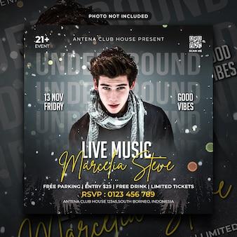 Música ao vivo, panfleto de festa, postagem em mídia social e banner na web