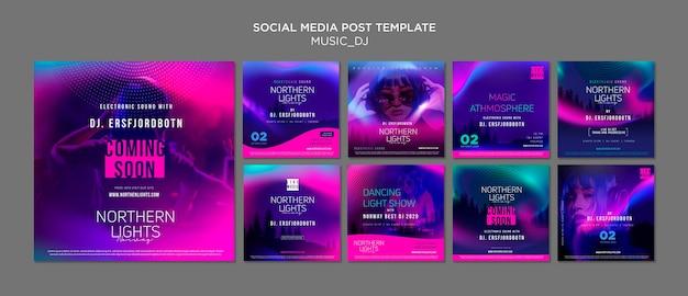 Música dj post de mídia social