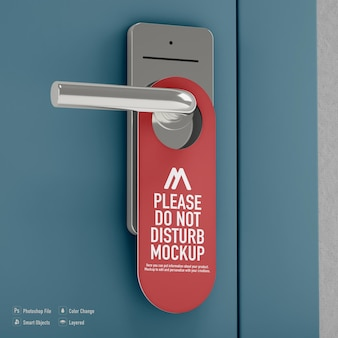 Não perturbe a maquete do gancho da porta isolada na porta