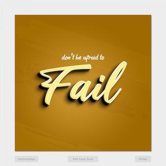 Não tenha medo de falhar efeito de estilo de texto de citação