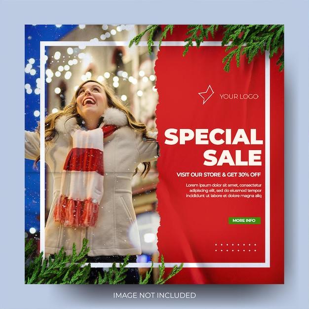 Natal moda venda papel rasgado instagram mídia social post feed