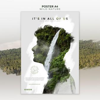 Natureza selvagem com cartaz abstrato homem e cachoeira