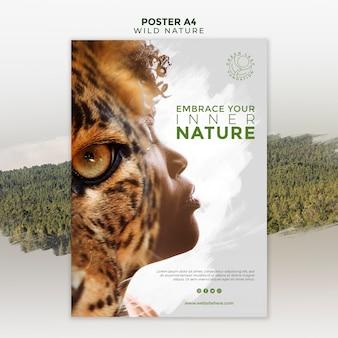 Natureza selvagem com cartaz de olho de mulher e tigre