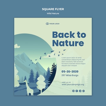 Natureza selvagem de montanhas e animais panfleto quadrado
