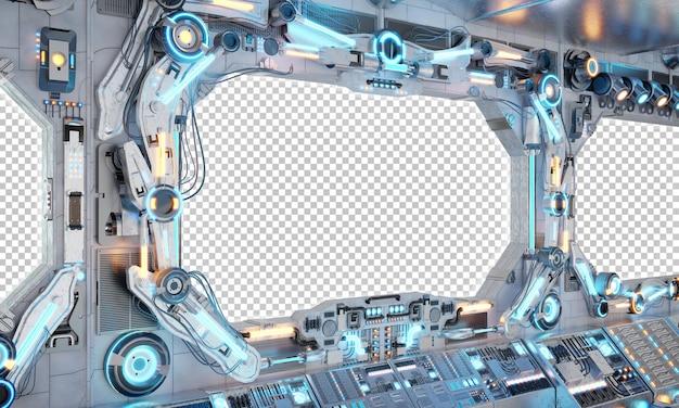 Nave espacial com maquete de janela isolada