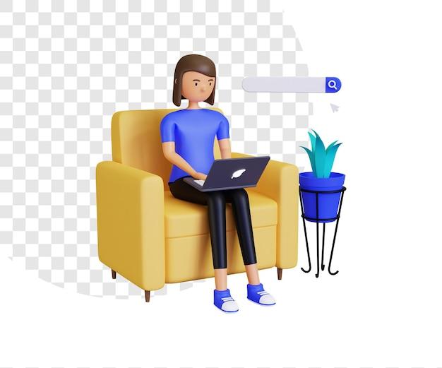 Navegação online 3d com personagem feminina e barra de pesquisa