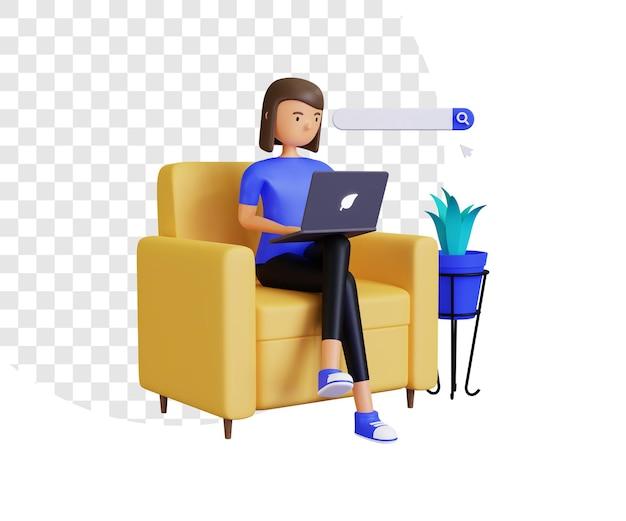 Navegação online 3d com personagem feminina e ilustração da barra de pesquisa