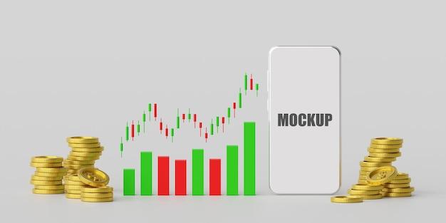 Negociação de ações e forex em maquete 3d de smartphone