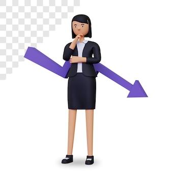 Negócios 3d caindo com personagem de mulher de negócios