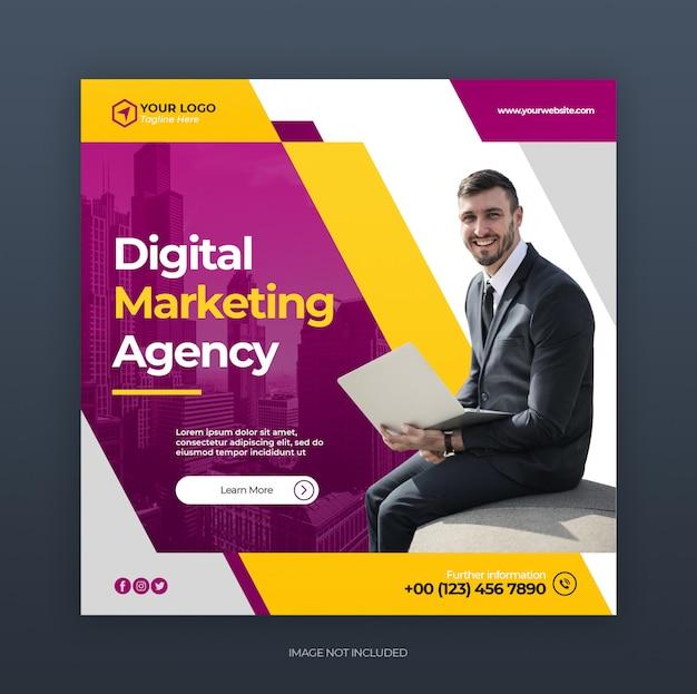 Negócios criativos digitais marketing mídia social banner ou panfleto quadrado