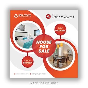 Negócios imobiliários mídia social pós-banner e design de modelo de flyer quadrado