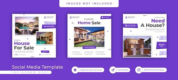 Negócios imobiliários mídia social pós-banner e design de modelo de folheto quadrado