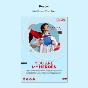 Nem todos os heróis usam panfleto de modelo de capas