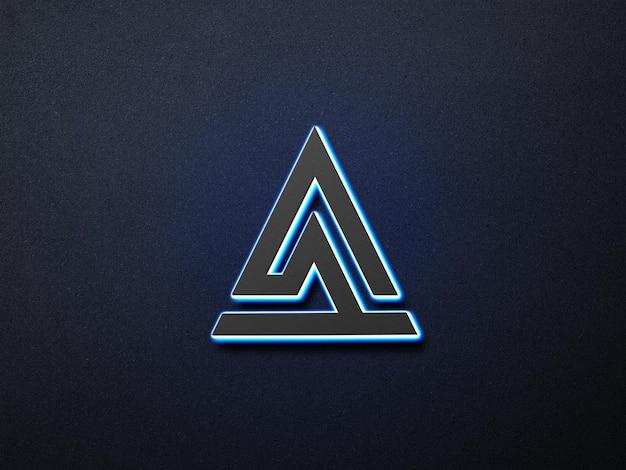 Neon 3d logo mockup fundo de escuridão
