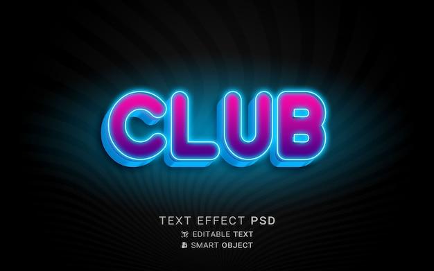 Néon de efeito de texto roxo e azul