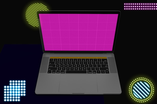 Neon laptop pro mockup v.2