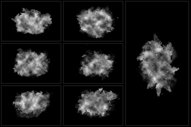 Névoa realista conjunto de nuvens isoladas de nevoeiro