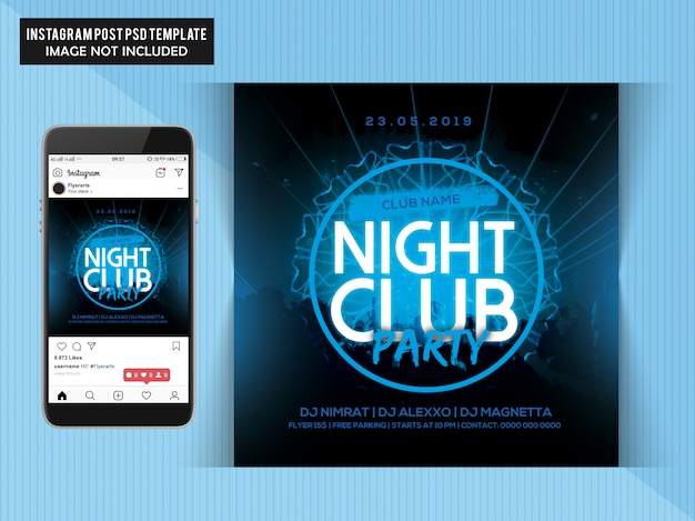 Night club party flyer para instagram