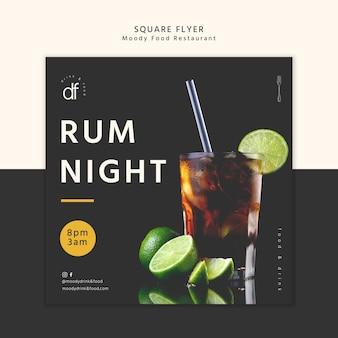 Noite de rum no restaurante panfleto quadrado