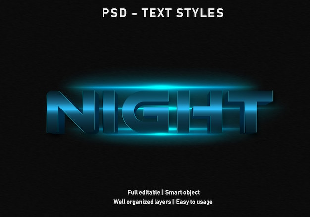 Noite efeitos de texto estilo psd editável
