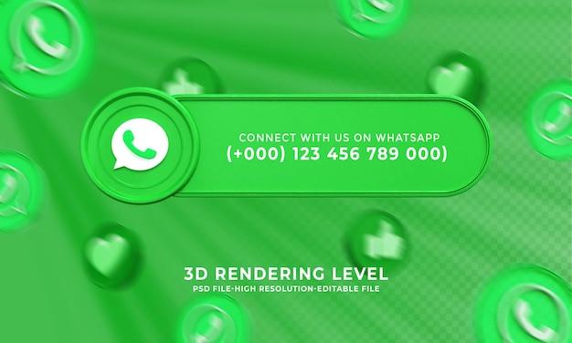 Nome de usuário do whatsapp com renderização em 3d do banner dos terços inferiores