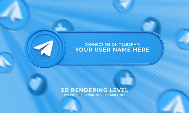 Nome do usuário do telegrama renderização em 3d do banner dos terços inferiores
