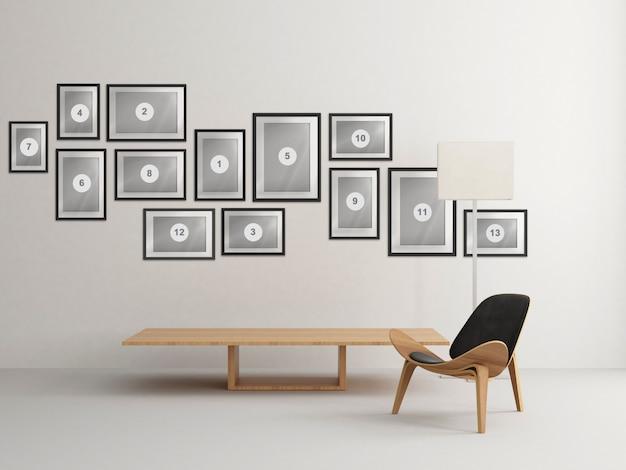 Nórdica casa interior sala de estar com composição de molduras de foto de maquete
