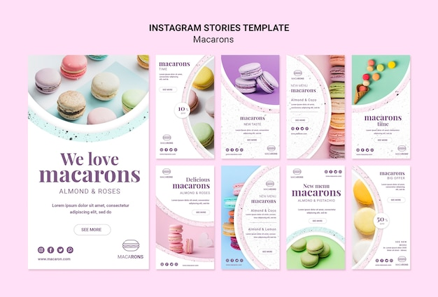 Nós amamos macarons instagram stories template