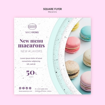 Nós amamos o menu macarons modelo de panfleto quadrado
