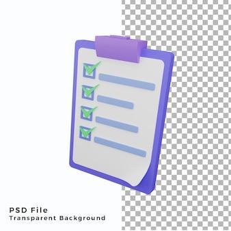 Nota 3d verificar ícone de ilustração de alta qualidade
