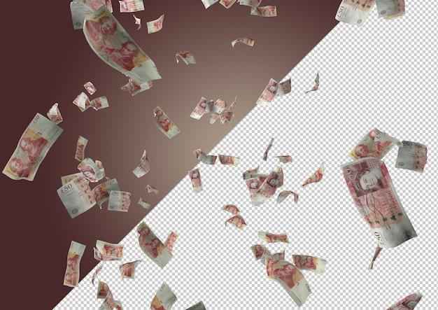 Nota de libra esterlina voadora - centenas de 50 libras caindo do topo